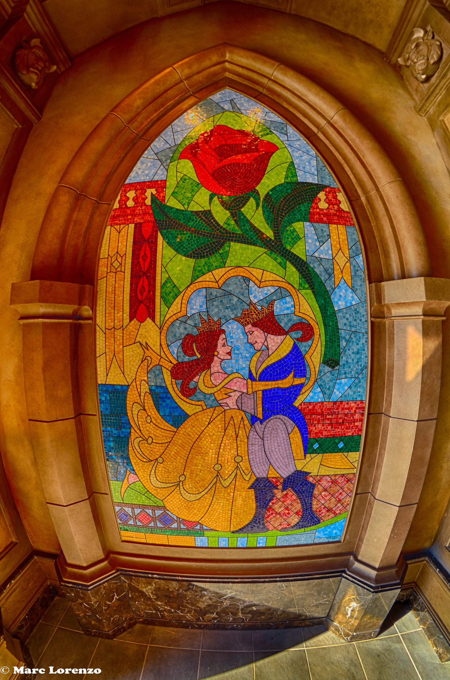 Be Our Guest Restaurant Stain Glass Mural HDR